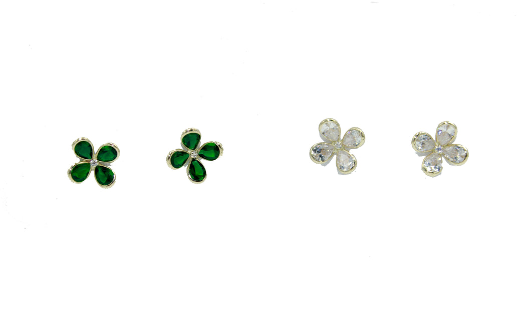 Green Clover CZ 14K Yellow Gold Screw Back Earring - Clear Clover CZ Screwbacks