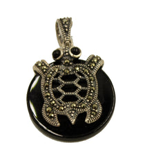 Marcasite Turtle  with Onyx  .925 Sterling Silver Pendant