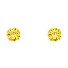 Topaz CZ 14K Solid Yellow Gold Basket Screw Back Earring - November CZ Screwback