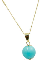 Turquoise Simulated 15 mm Ball Necklace18k Gold Plated - Turquoise Necklace