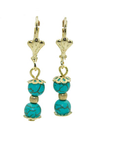 Turquoise Double Ball 6mm Leverback Dangle Earring 18k Gold Plated French Clasp