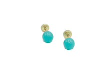 Turquoise 5mm Ball 14k Yellow Gold Screw Back Earring - Turquoise Studs