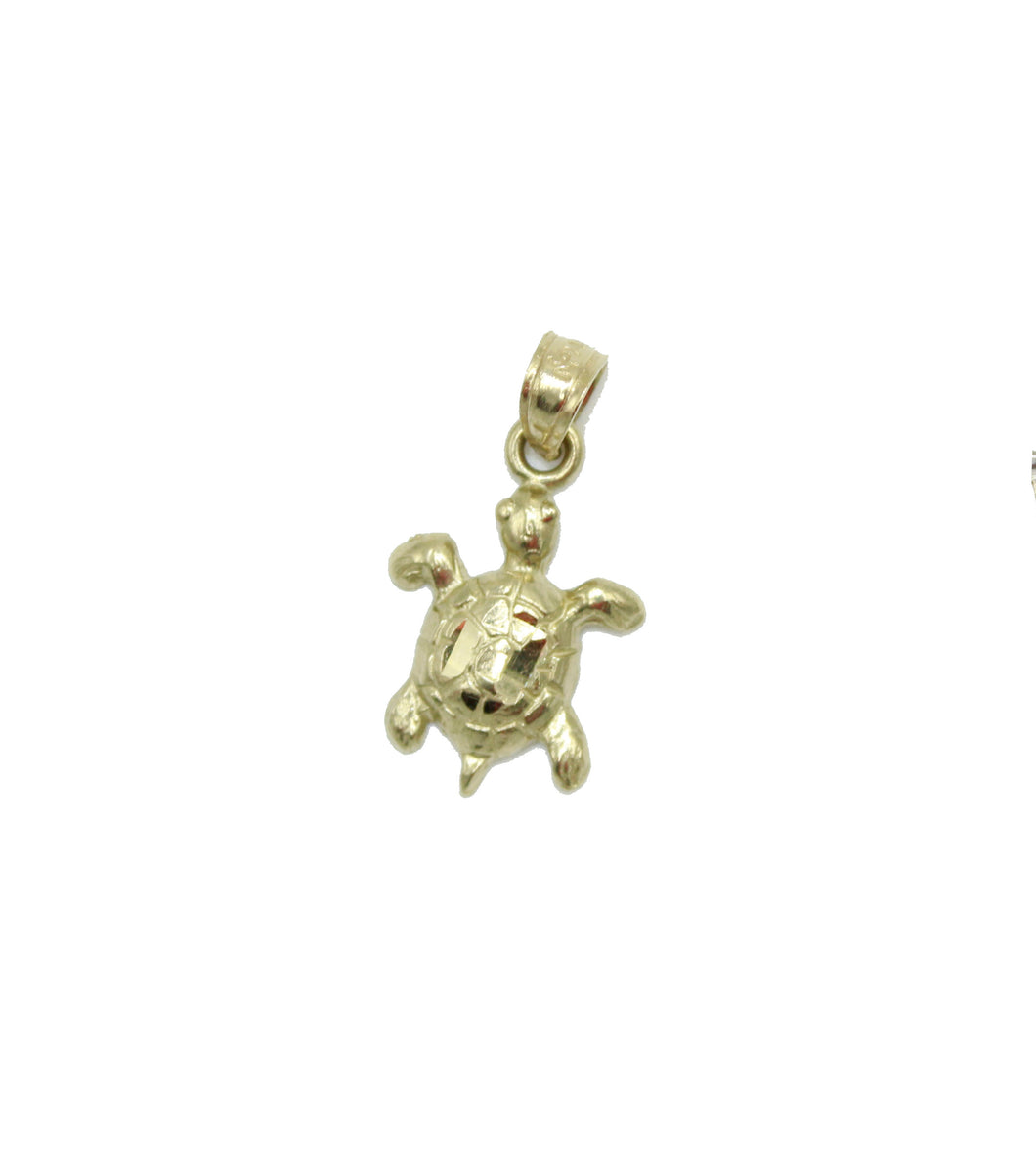 Turtle Pendant 14k Yellow Gold - Turtle Charm Pendant 14k Yellow Gold