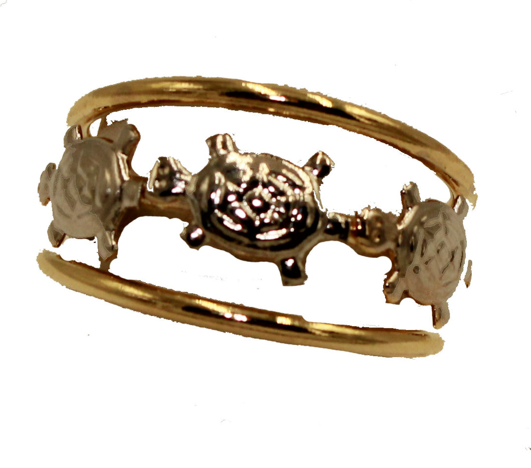 Turtle Two Tone 18K Gold Plated Ring - Turtle Ring Size 7 to 9