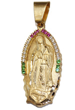 Virgen de Guadalupe 14k Solid Yellow Gold Pendant with Mexican Flag CZ