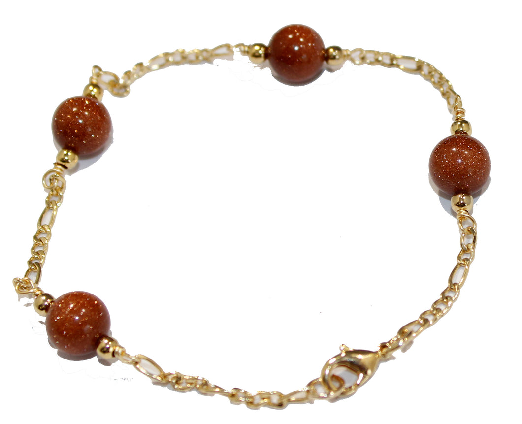 Venturina 8mm Ball 7.5 inch Bracelet 18k Gold Plated - Venturina Ball Bracelet