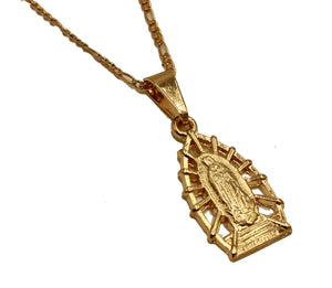 Virgen de Guadalupe Pendant 18K Gold Plated With 20 inch Chain