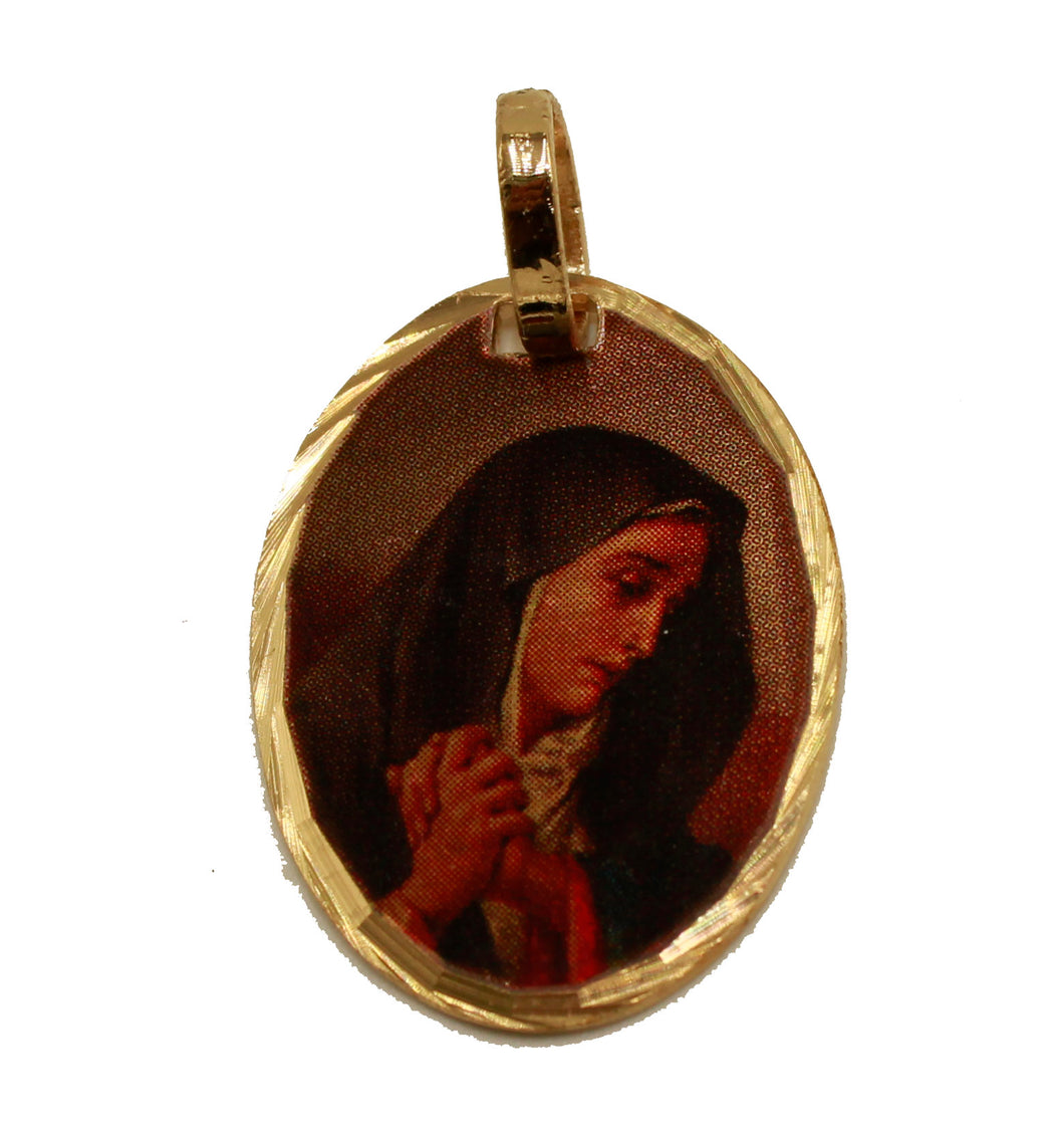 Our Lady of Sorrows Medal - Virgen Dolorosa 14k Gold Plated Medal with Chain
