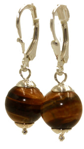 Tiger Eye 10mm Leverback Dangle Earring .925 Sterling Silver French Clasp