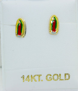 Virgen de Guadalupe with Enamel 14k Gold Screw Back Earrings - Guadalupe Studs