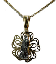 Virgen de Guadalupe Flower Medal 18K Gold Plated with 20 inch Chain - Morenita