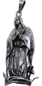 Virgen de Guadalupe Medal .925 Sterling Silver Pendant - Our Lady of Guadalupe