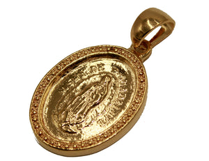 Virgen de Guadalupe Oval Medal 18K Gold Plated with 20 inch Chain - Oval Medal