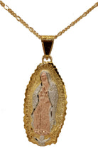 Virgen de Guadalupe 18k Gold Plated Pendant with 22 inch Chain - Guadalupe Medal