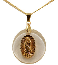 Virgen de Guadalupe Round Medal 18k Gold Plated with 20 Chain - Lady of Guadalupe Round Medal 18k Gold Plated with 20 Chain