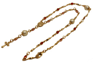Virgen de Guadalupe Red Rosary 18k Gold Plated 18 inch - Our Lady of Guadalupe