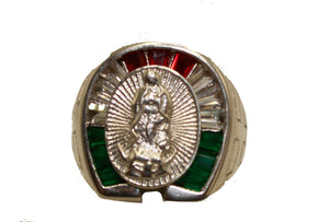 Virgen de Guadalupe with Mexican Flag Bezel .925 Sterling Silver Size 8, 9,10, 11, 12 & 13