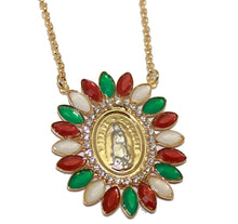 Virgen de Guadalupe with Mexico Flag Bezel Necklace 18 inch - Our Lady Guadalupe