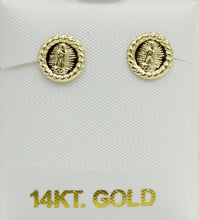 Virgen de Guadalupe Round Morenita 14k Yellow Gold Screw Back Earrings