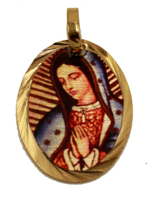 Virgen de Guadalupe 14k Gold Plated Medal with 18 Inch Chain - Guadalupe Medal
