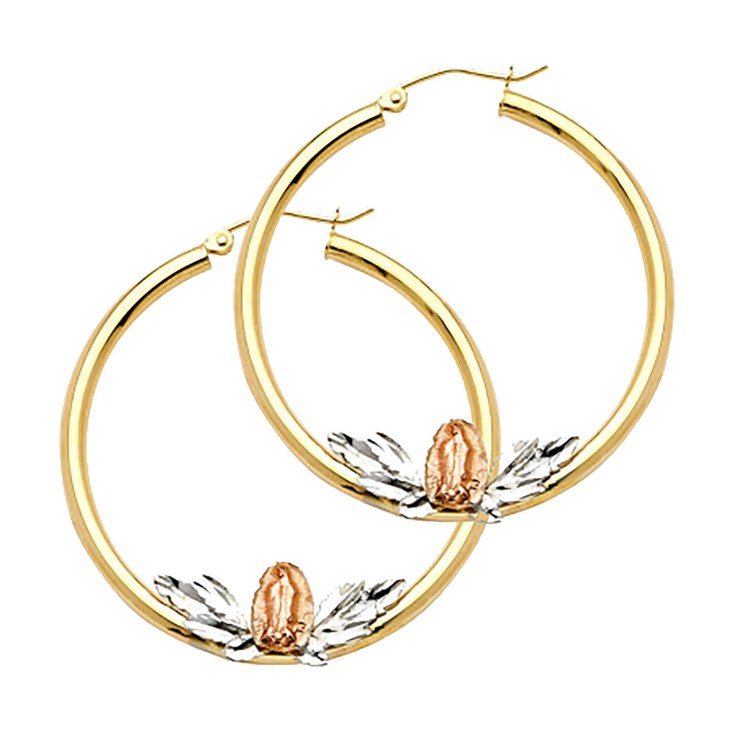 Virgen de Guadalupe 14k Yellow Gold Hoops - Our Lady of Guadalupe Hoops 14k Gold