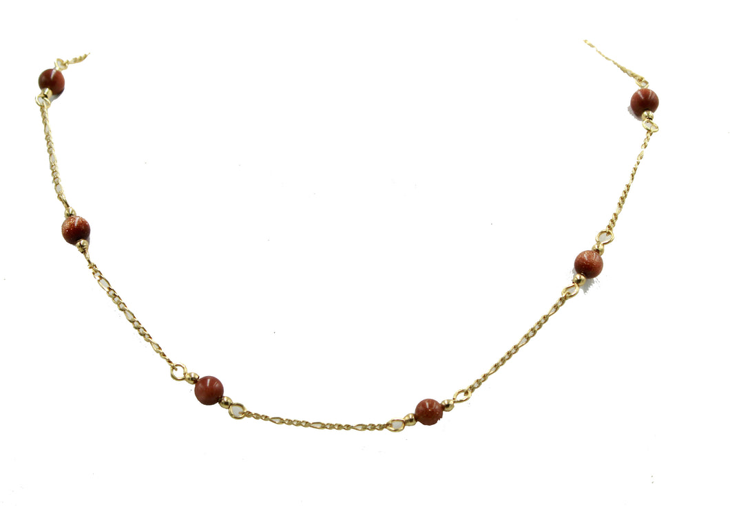 Venturina 4mm Ball Necklace 18k Gold Plated Venturina Necklace 16 & 18 inch