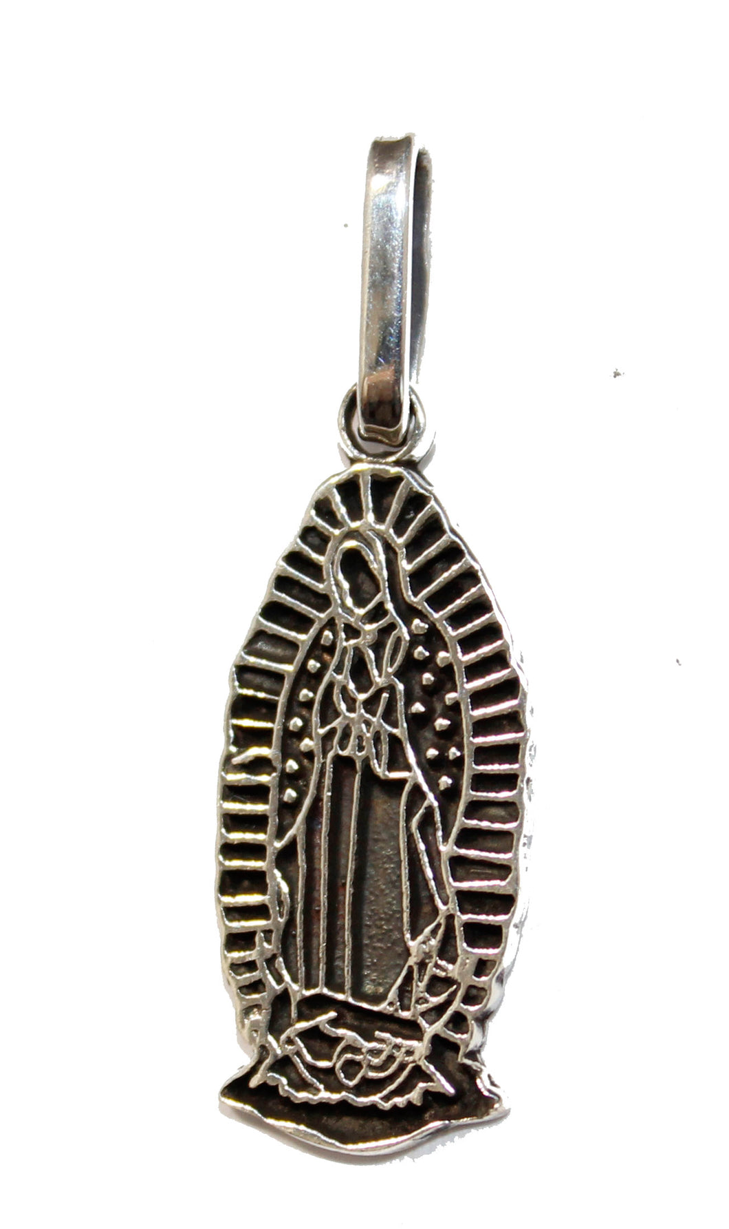 Virgen de Guadalupe .925 Sterling Silver Pendant - Taxco Silver Guadalupe Medal