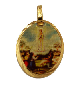 Virgen De Fatima Pendant 14k Gold Plated Medal with 18 inch Chain - Our Lady of Fatima