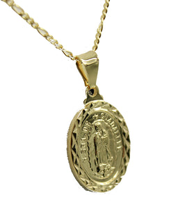 Our Lady of Guadalupe Oval Medal 18k Gold Plated with 20 inch Chain