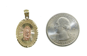 Virgen de Guadalupe Medal 14k Solid Yellow Gold - Our Lady Guadalupe Oval Medal