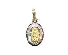 Virgen de Guadalupe 14k Three Tone Gold Oval Medal - Our Lady of Guadalupe Medal