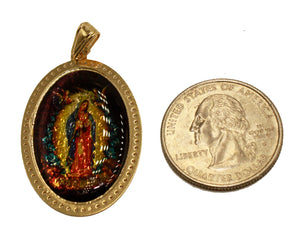 Virgen de Guadalupe Oval Pendant 18k Gold Plated Medal with 20 Inch Chain