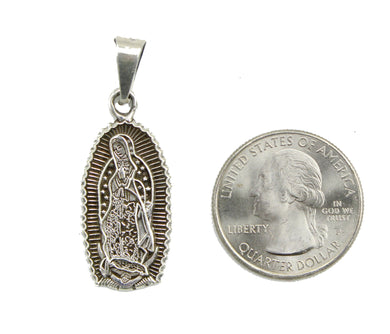 Virgen de Guadalupe .950 Fine Silver Pendant -Our Lady of Guadalupe Mexico Medal