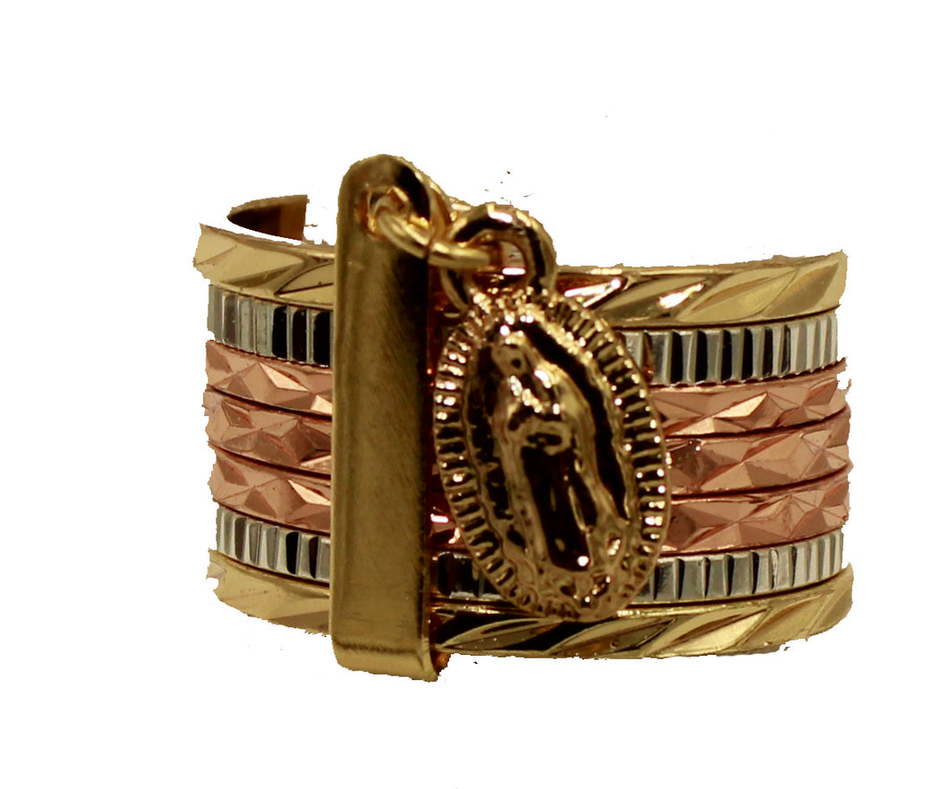 Virgen de Guadalupe Two Tone 18k Gold Plated Ring Guadalupe Ring 5, 6 & 9