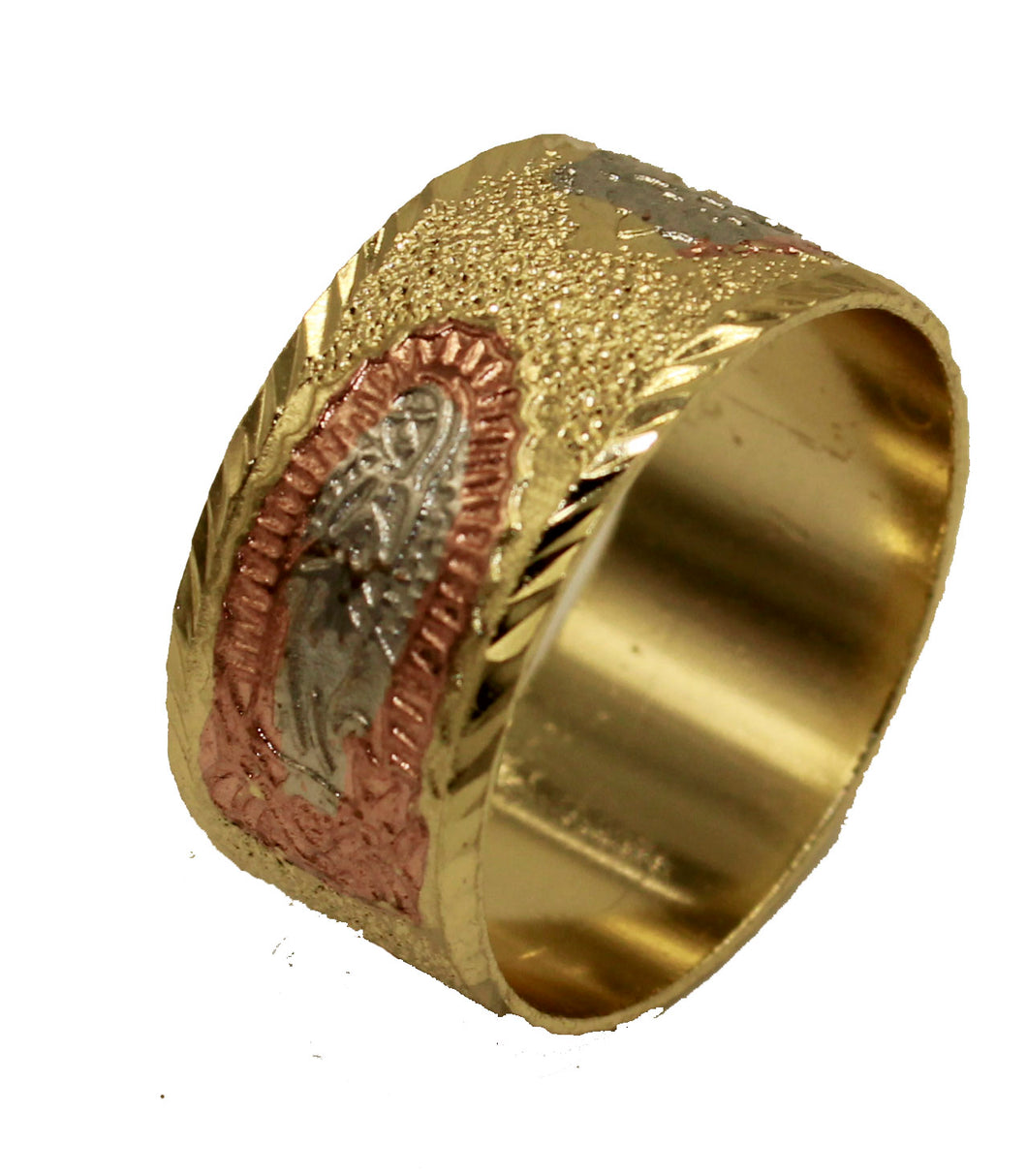 Virgen de Guadalupe Three Tone 18k Gold Plated Ring Guadalupe Ring 6 to 9