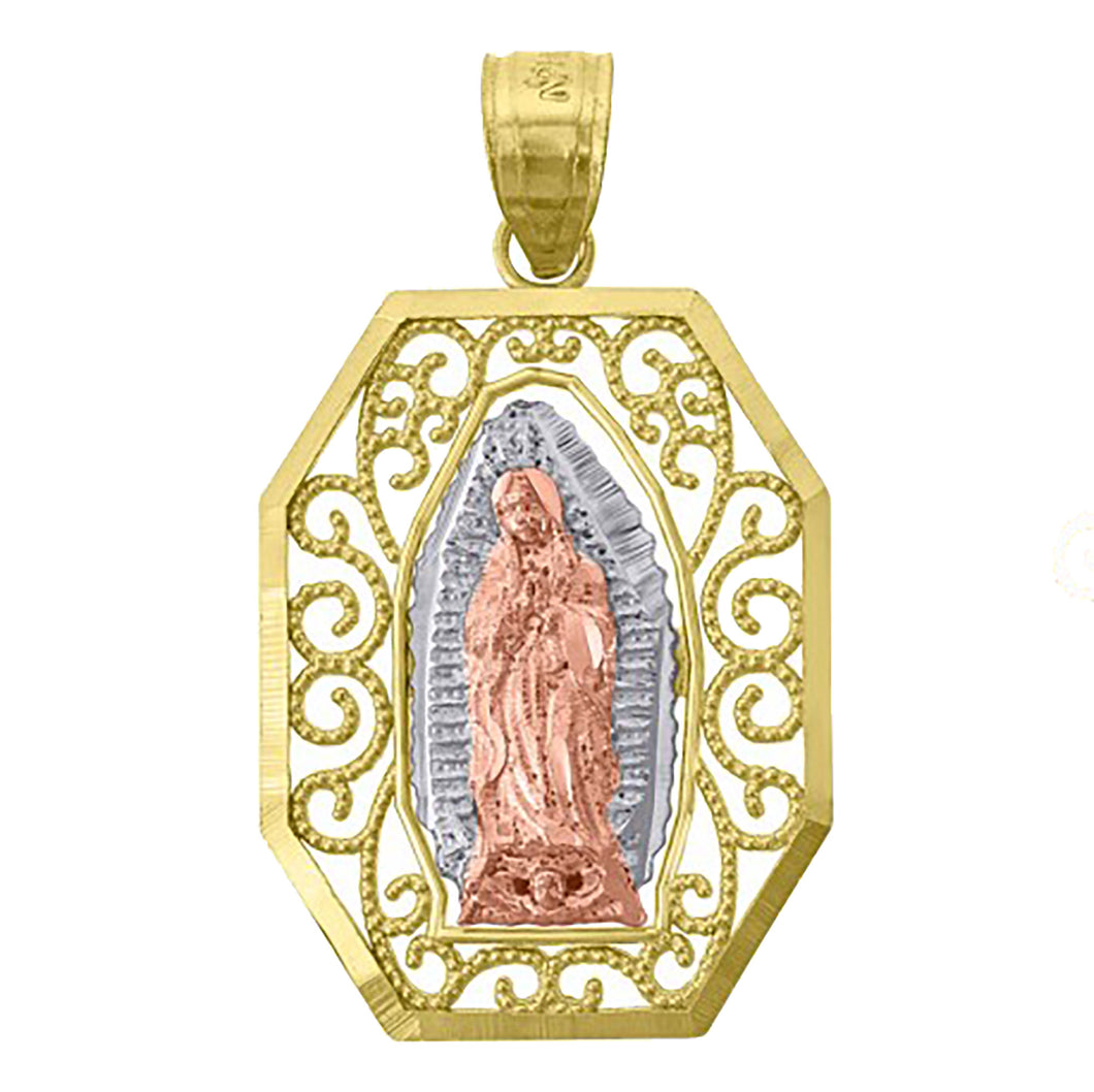 Virgen de Guadalupe 14k Yellow Gold Pendant - Our Lady of Guadalupe Gold Medal
