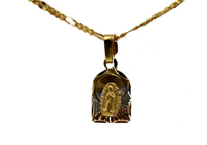 Virgen De Guadalupe 3 Tone Medal 18k Gold Plated with 20 Inch Chain
