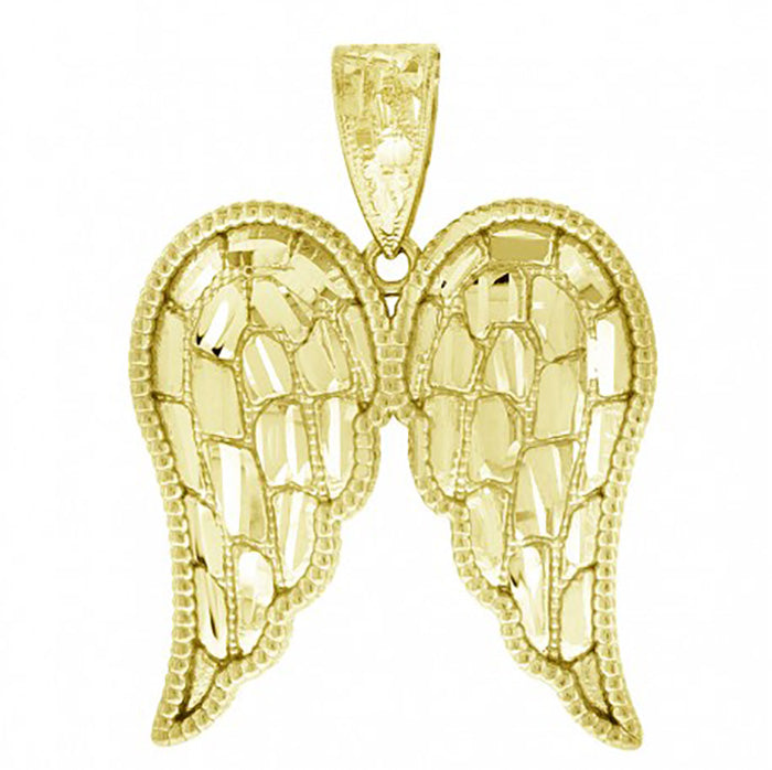 Angel Wings 10k Yellow Gold Pendant - Angel Wing 10k Solid Yellow Gold Pendant