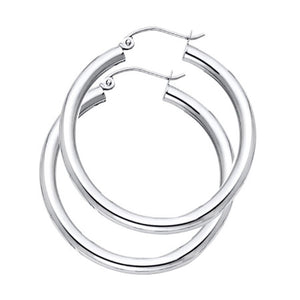 14k White Gold Hoop Earrings 3mm X 30mm - 14k WhiteGold Hoops 30mm