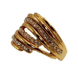 Wavy Cubic Zirconia 18k Gold Plated Ring - Wave Ring with CZ Size 7 to 9