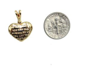 You Are My World Heart Charm 18k Gold Plated with 20 inch Chain - Heart Necklace