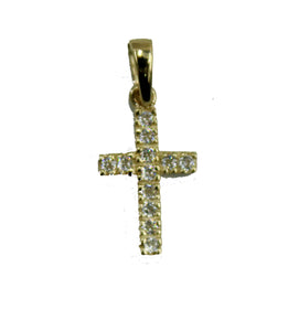Cross with CZ Pendant 14k Yellow Gold - Cross 14k CZ Gold Pendant