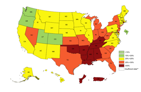 obesity in america colored map