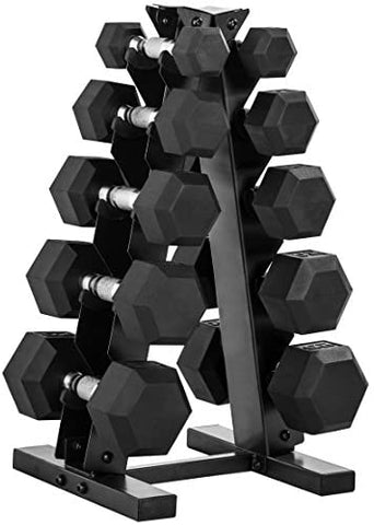 150-lb Hex Dumbbell Weight Set with Vertical Rack-Gains Everyday