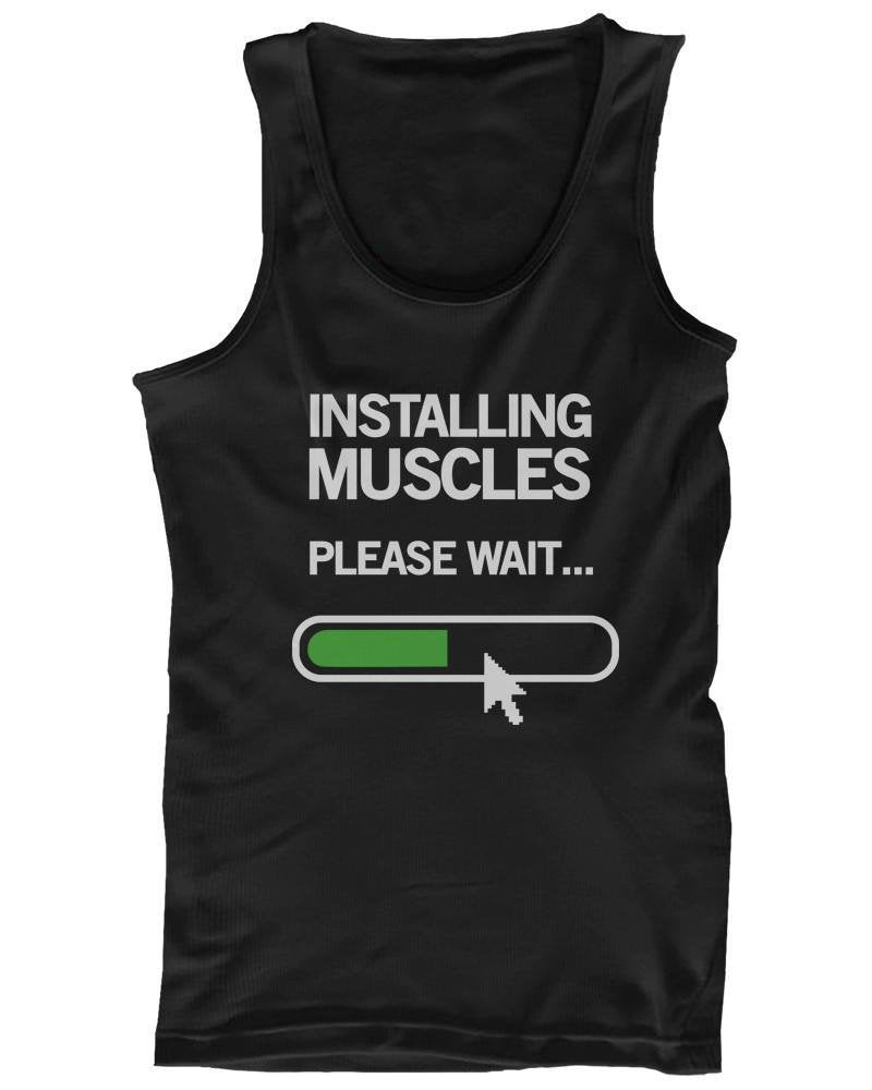 Installing Muscles Please Wait Men's Workout Tank Top Black Tanks for Gym-Gains Everyday