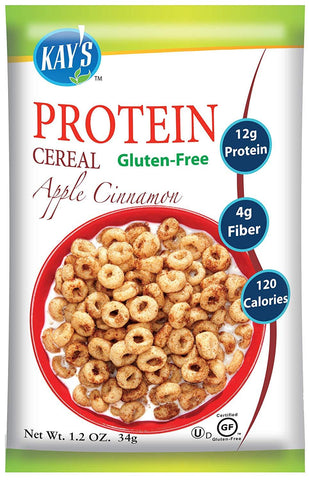gains-everyday,Kay's Naturals Protein Breakfast Cereal, Apple Cinnamon, Gluten-Free, Low Carbs, Low Fat, Diabetes Friendly, (Pack of 6),Kay's Naturals,Protein Cereal