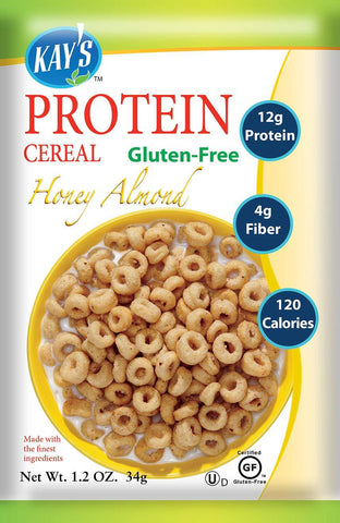 Kay's Naturals Protein Breakfast Cereal, Honey Almond, Gluten-Free, Low Carbs, Low Fat, Diabetes Friendly (Pack of 6)-Gains Everyday