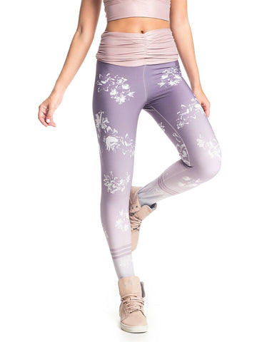 Lilac Flowers Sublimated Leggings-Gains Everyday