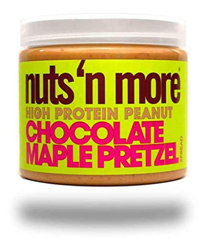 gains-everyday,Nuts 'N More Chocolate Maple Pretzel Peanut Butter Spread, High Protein Nut Butter Snack, Low Carb, Low Sugar, Gluten Free, All Natural, 16 oz Jar,Nuts 'N More,Protein Nut Butter