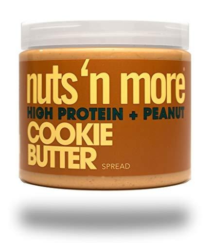 Nuts 'N More Cookie Butter Peanut Spread, High Protein Nut Butter Snack, Low Carb, Low Sugar, Gluten Free, All Natural, 16 oz Jar - Gains Everyday